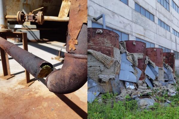 На территории завода-банкрота хранятся старые емкости с химикатами