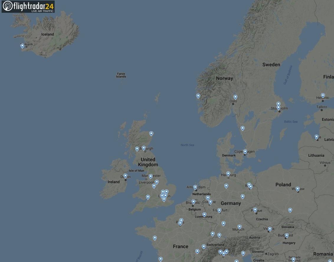 Воздушный трафик в Европе 16 апреля 2010 года