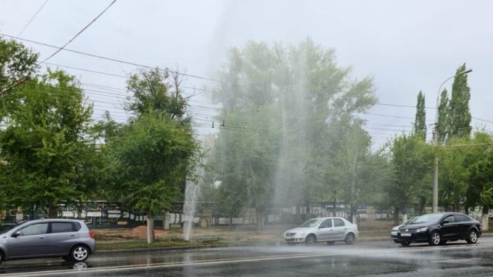 Пятиметровый фонтан воды остановил движение троллейбусов на проспекте Ленина в Волгограде