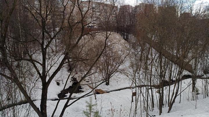 Пермяки жалуются, что в речку Уинку рядом с Садом соловьев скидывают грязный снег