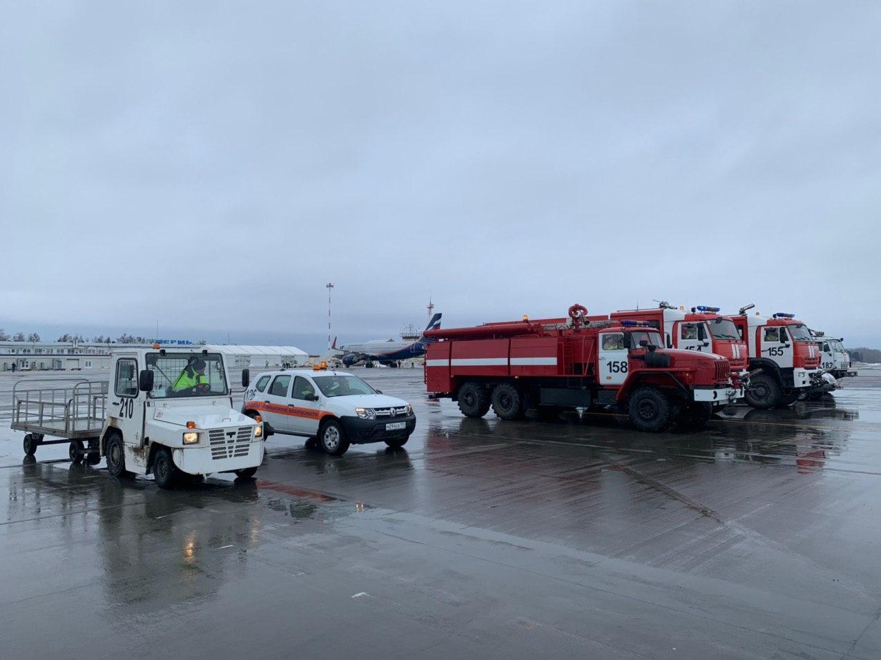 Так встречают борт в пермском аэропорту
