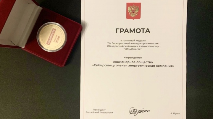 Владимир Путин наградил СУЭК за активное участие во Всероссийской акции #МыВместе