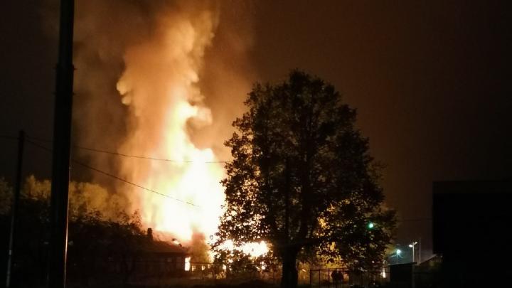 «40 минут пытались сбить пламя»: первые кадры пожара на Плещеевом озере