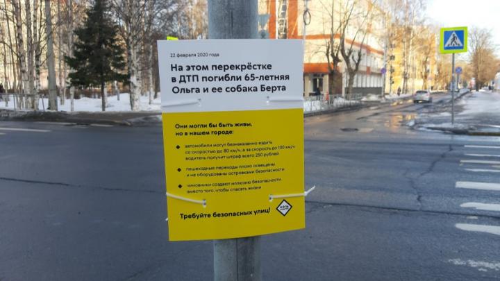 В Архангельске установили табличку на месте ДТП, где погибли женщина и собака