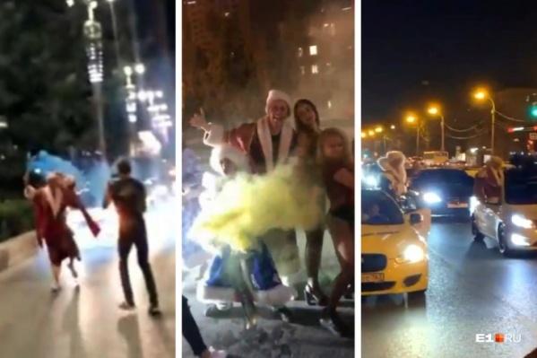 По центру Екатеринбурга проехала шумная колонна авто со Снегурочками и Дедами Морозами