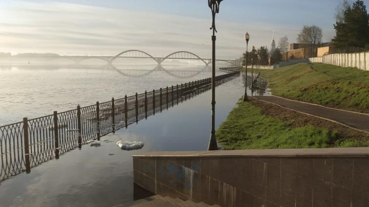 «Такая мощь!»: в Рыбинске Волга вышла из берегов и затопила набережную