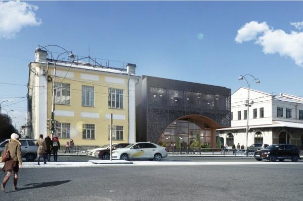 Из нескольких вариантов, представленных на согласование, выбрали фасад в виде разомкнутой арки
