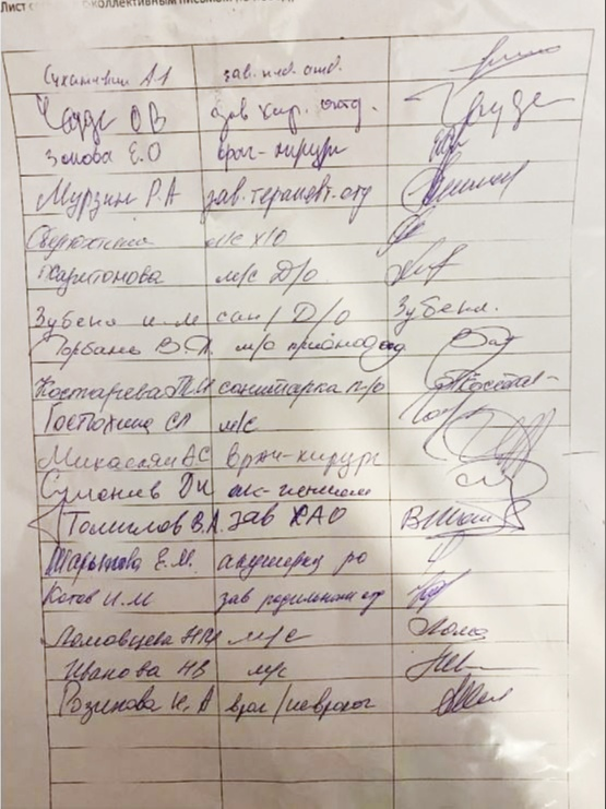 На этом фото подпись пяти заведующих отделениями