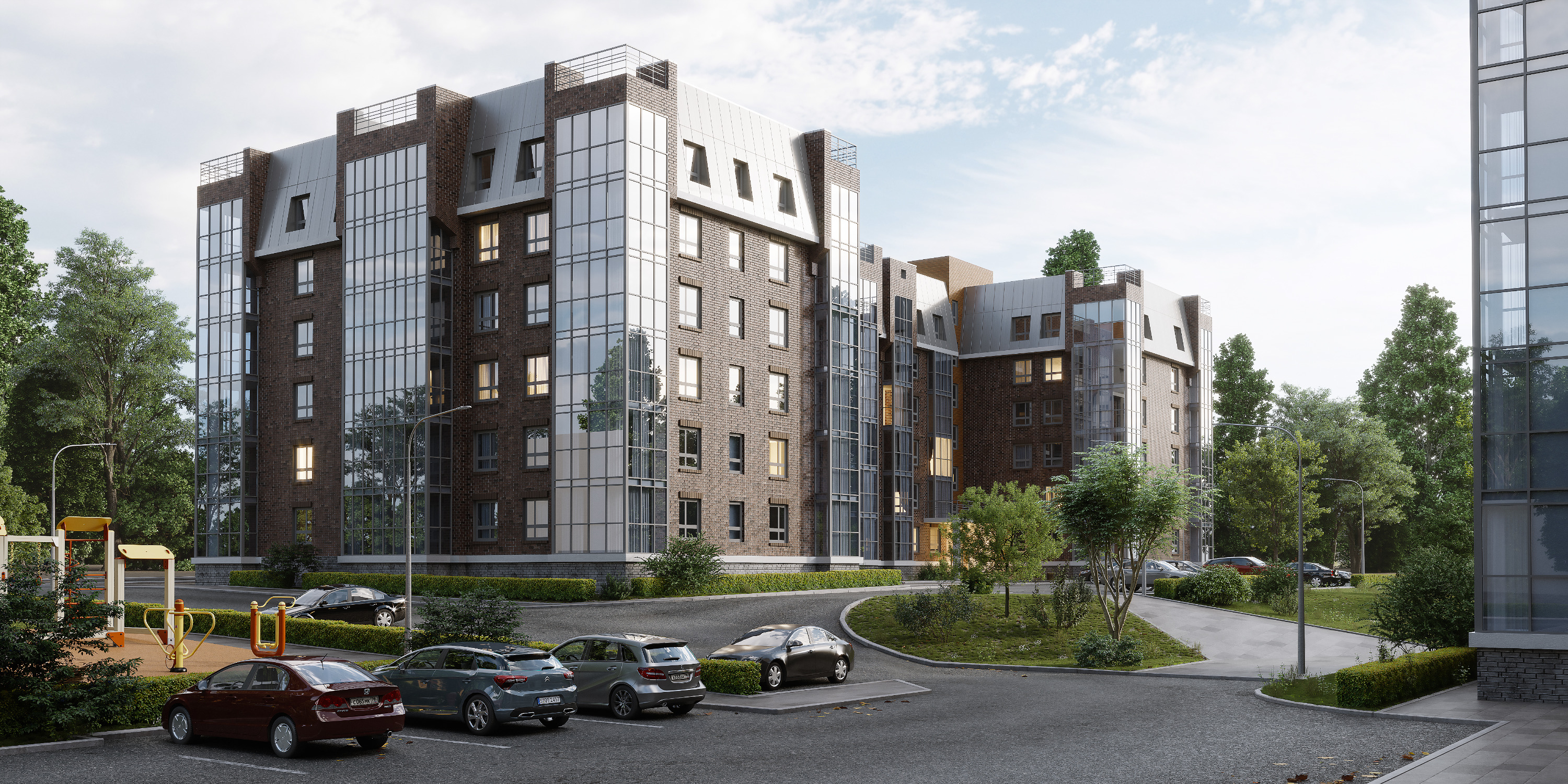 Новый жилой квартал «Лапшин Loft» — всего два шестиэтажных дома и уютный закрытый двор с березовой рощей