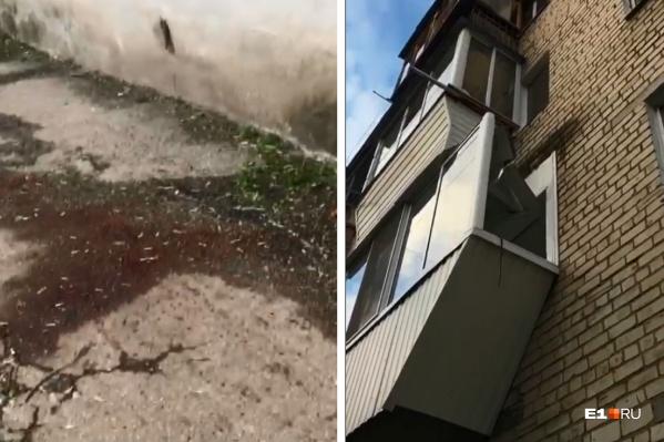 Труп увезли в морг, осталась только лужа крови и сломанный балкон