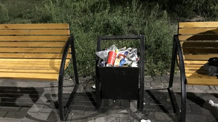 Курганцы жалуются на переполненные урны в парке Победы