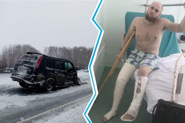 Блогер Денис Новичков пока с трудом садится на кровать, но врачи советуют ему уже пытаться ходить и разрабатывать ногу