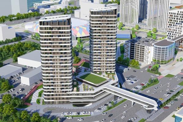 Две башни объединит общее основание — стилобат в 3 этажа