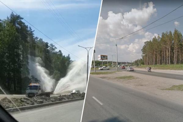 В Советском районе во время испытаний произошла авария — проезжающие автомобилисты стали свидетелями фонтана, который забил из-под земли