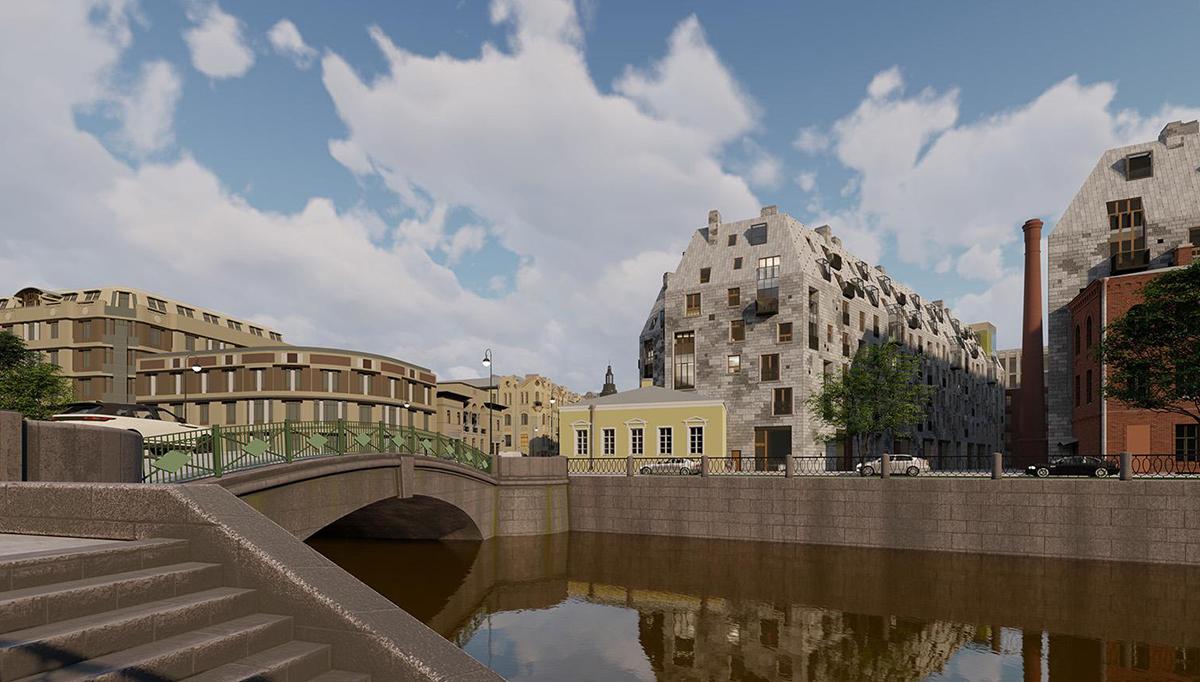 Проект жилого комплекса на набережной реки Карповки.<br><br>«Студия 44» (Россия, Санкт-Петербург)