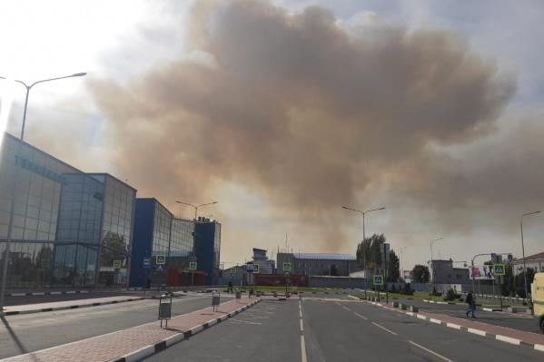 Дым от пожара в пригороде Волгограда окутал небо над аэропортом