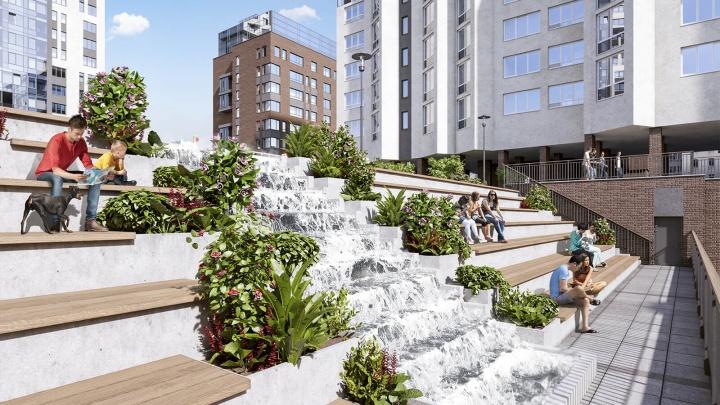 Фонтан, амфитеатр и даже пляж: в каких дворах будут гулять жители кварталов XXI века