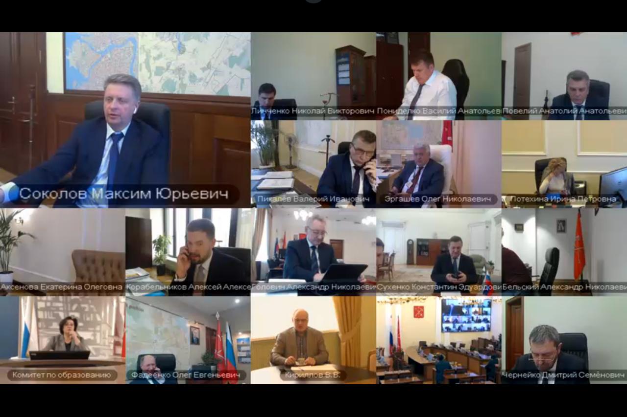 скриншот трансляции заседания в Смольном