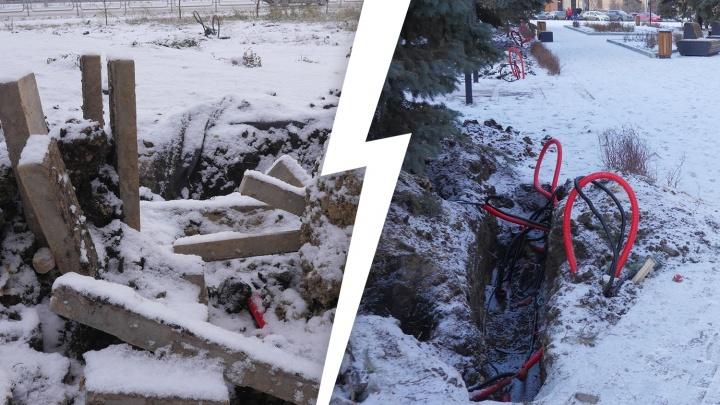 Благоустройство по-челябински: два новых сквера раскурочили при монтаже новогодней иллюминации