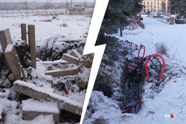 Такие раскопки челябинцы заметили в двух скверах