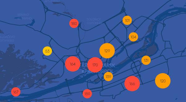 По данным независимых экологов, состояние воздуха в городе очень плохое. Скриншот с Nebo.live<br>