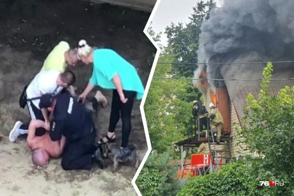 Полицейские скрутили буйных мужчин, мешавших пожарным тушить огонь