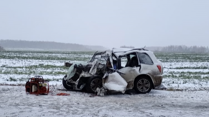 В Омской области после столкновения легковушки с грузовиком погибли мужчина и ребёнок