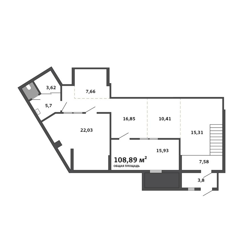 Хороший вариант для офиса — есть открытое пространство для рабочих мест, большое помещение для столовой и вместительная переговорная комната