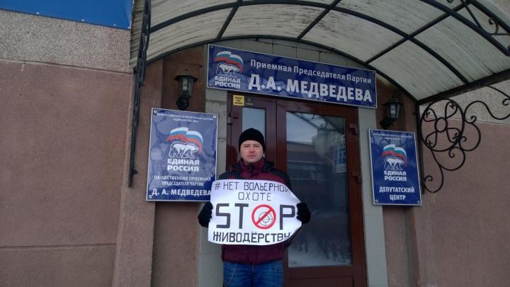 Стоп живодёрству: в Омске прошли одиночные пикеты против закона о вольерной охоте