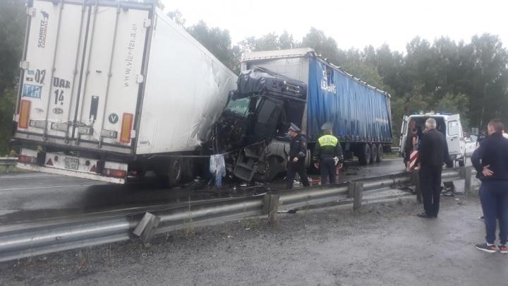 Движение полностью перекрыто: на въезде в Пышму лоб в лоб столкнулись два грузовика