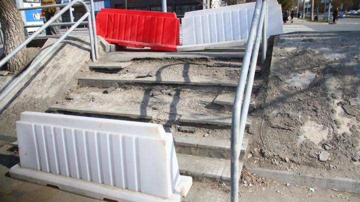 «Растаяла вместе со снегом»: самарцы сняли на фото развалившуюся лестницу у Ботанического сада