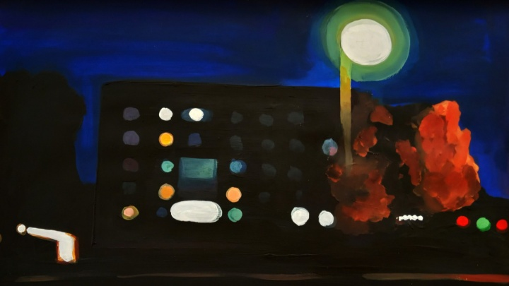 Художник из Тары на картинах показывает, как видит вечерние улицы близорукий человек