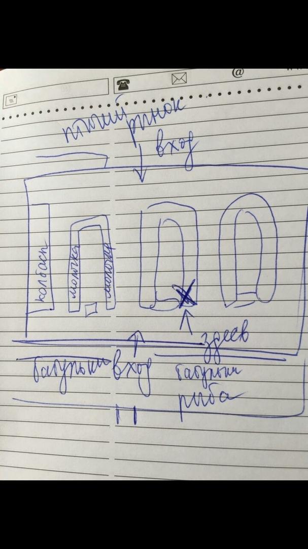 Схема рынка в Сибае с указанием палатки, где торговали зараженные коронавирусом люди
