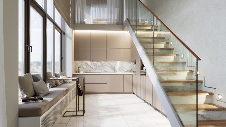 Кухня с типовую однокомнатную и огромные окна: какие городские квартиры стали новым трендом