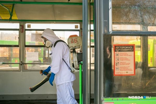 Автобусы Красноярска стали дезинфицировать еще тщательнее в связи с коронавирусом