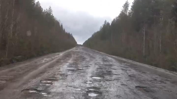 «Федеральный бюджет — вот оно»: житель Плесецкого района показал ужасы трассы А-215. Видео