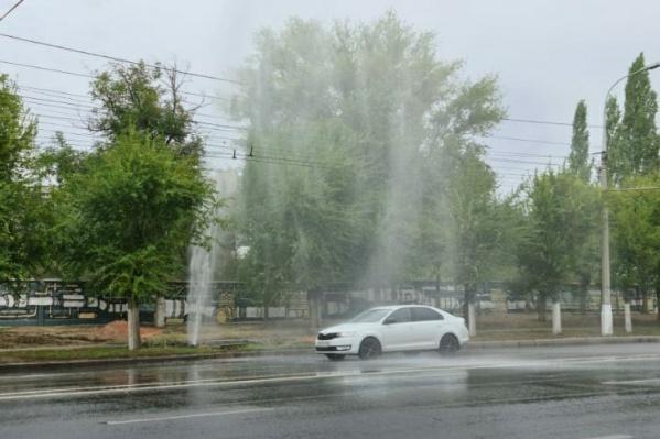 Фонтан холодной воды бил выше деревьев