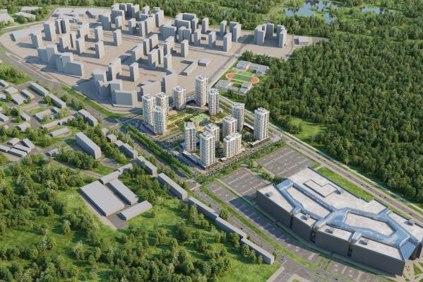 """Район будет состоять из 13 кварталов, справа — <a href=""""https://www.e1.ru/news/spool/news_id-53655061.html"""" target=""""_blank"""" class=""""_"""">новый торговый центр</a>"""