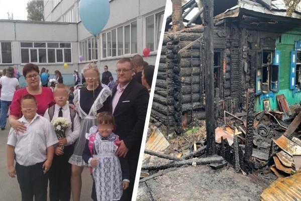 Частный дом начал гореть снаружи, когда все члены семьи спали. По предварительным данным, загорелась проводка
