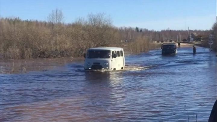 «Уазик ехал, утонул». Смотрим на видео, как из разлившейся Онеги вытаскивают автомобили