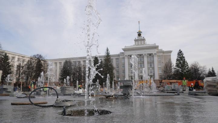 В Уфе протестировали фонтан на Советской площади