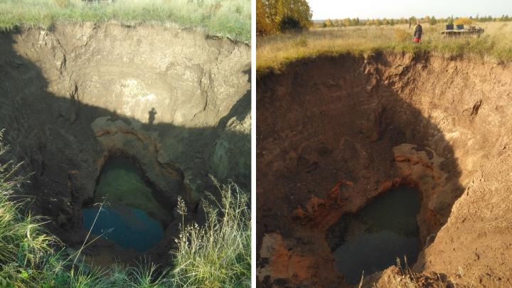 В Виноградовском районе нашли карстовый провал глубиной 24 метра