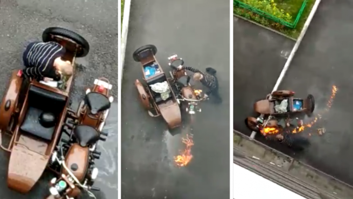 Странный мужчина поджёг чужой мотоцикл и потом гулял вокруг — его поймали местные жители