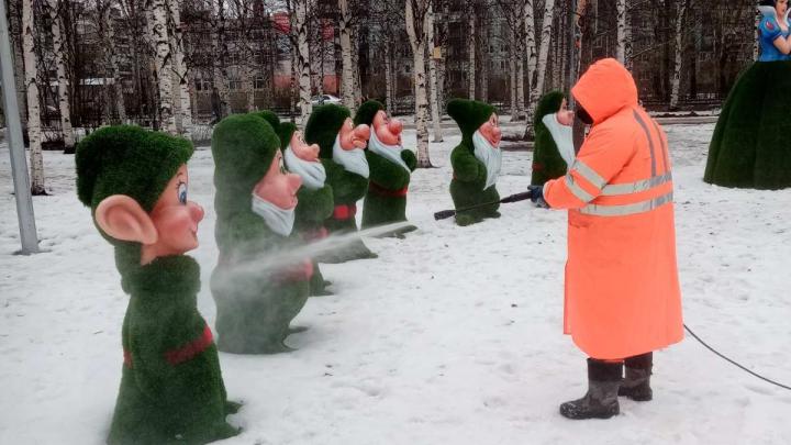 «Майский парк» в Архангельске дезинфицировали