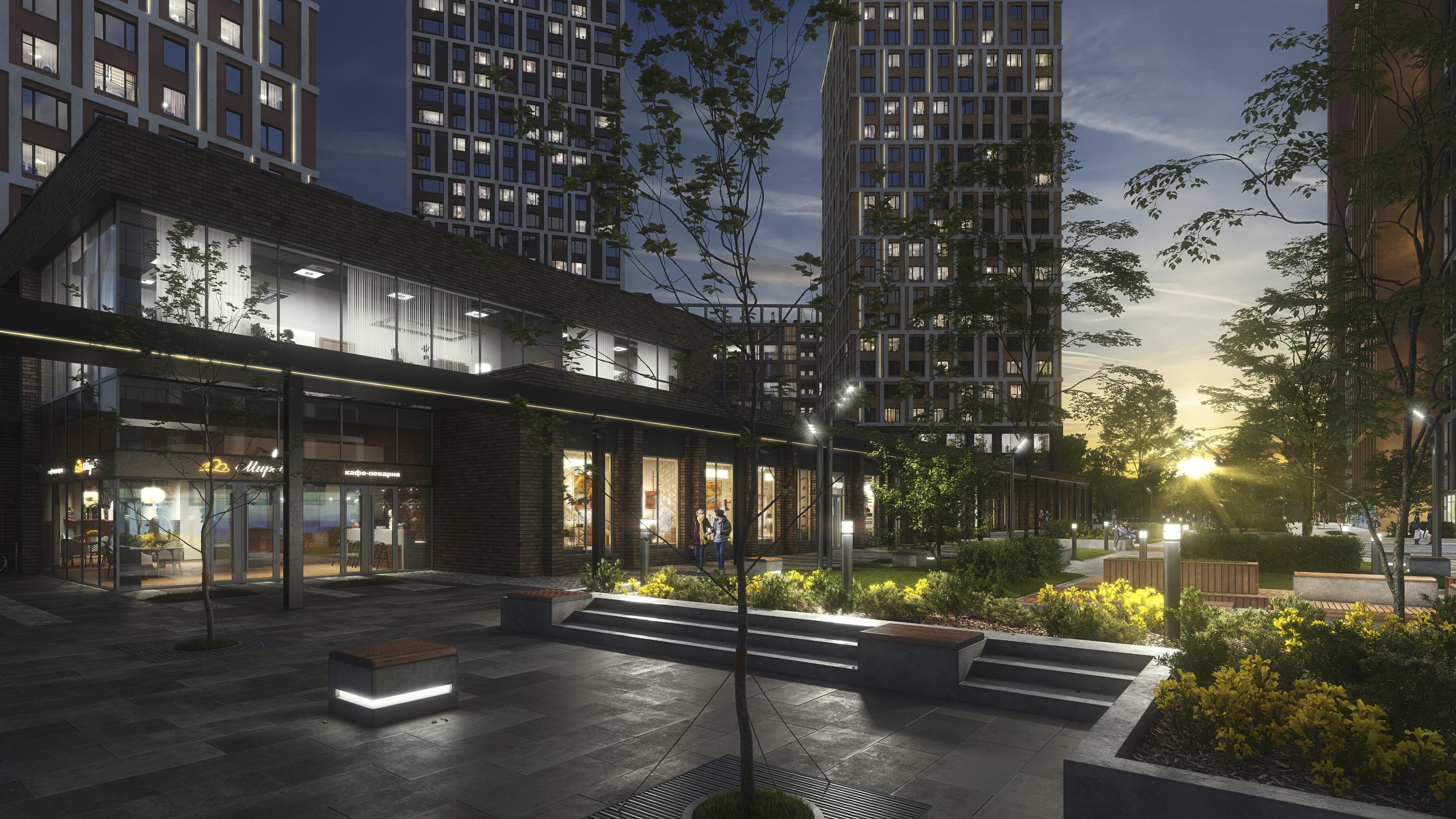 В некоторых квартирах первых двух секций будут угловые окна, они выходят как раз на линейный парк