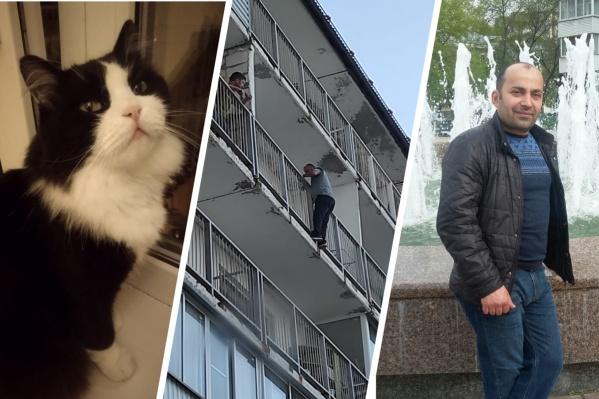 После героического спасения животного жители домов выкрикивали похвалу и аплодировали мужчине