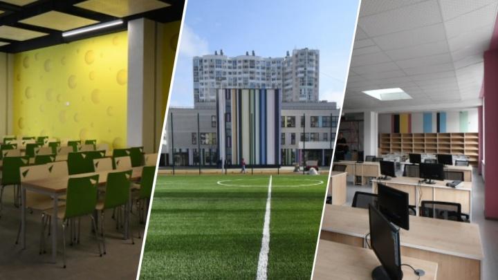В Екатеринбурге доделали пристройку к самой «резиновой» школе: фотопрогулка по новому зданию