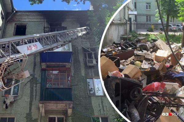 Чтобы потушить огонь, пришлось выбросить все вещи из квартиры