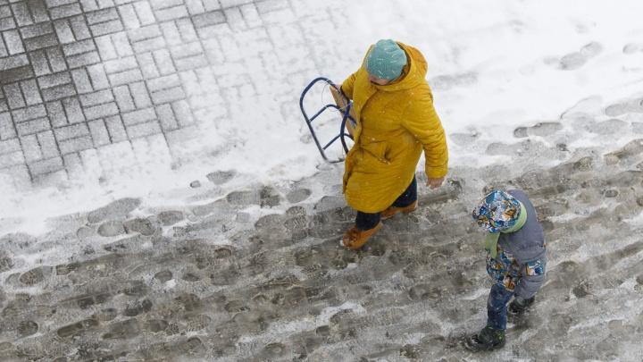 В конце февраля погода в Волгоградской области смешает «винегрет» из снега, дождя и сильного ветра