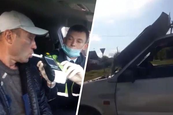 Пьяного водителя остановила собственная машина, на ходу у нее открылся капот